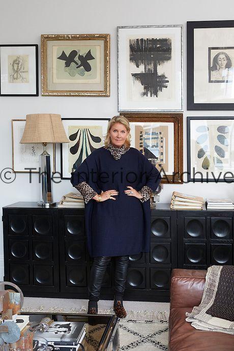 Danish fashion designer Malene Birger in the living room of her London apartment
