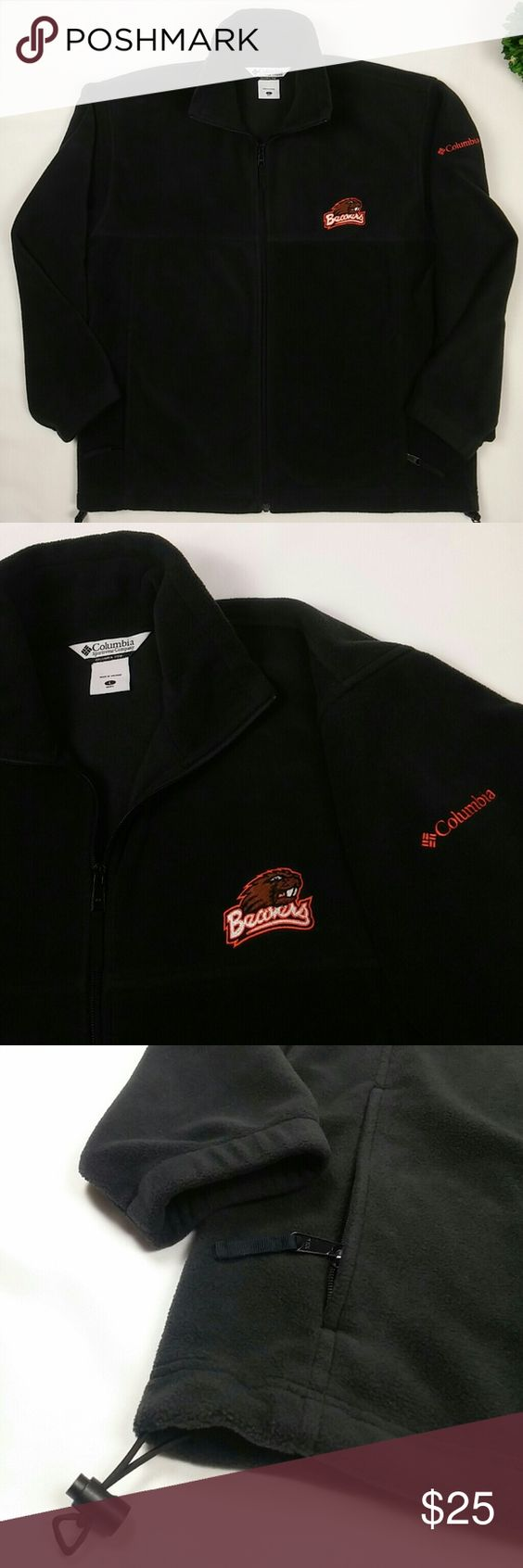 """COLUMBIA Beavers Mens fleece zip up jacket A Very warm Beavers Fan fleece zip-up jacket from Columbia. In excellent condition.  Armpit to armpit laying flat 25"""" Length 27.5"""" Columbia Sweaters Zip Up"""