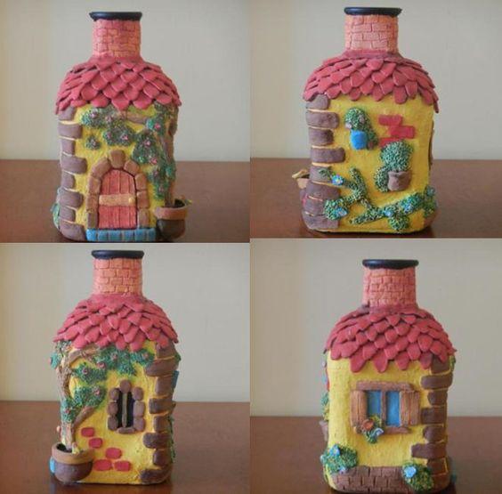 Decoracion de botellas con pasta para moldear tecnicas - Decoracion con botellas ...