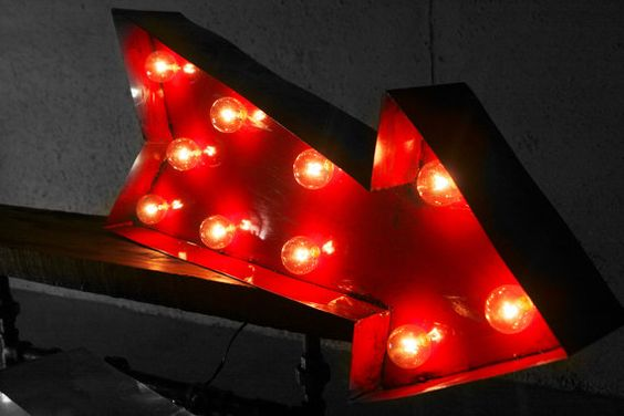 Vintage Marquee Sign Arrow Handmade in by VintageLightCompany