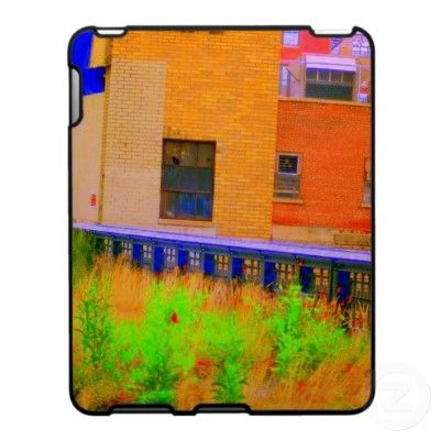 'AUTUMN INDUSTRIAL' iPAD CASE, by The Flying Pig Gallery on Zazzle (lizadeyphoto) - A hyper-saturated digital painting (from a photograph) of an abandoned industrial complex makes this case a true piece of art!