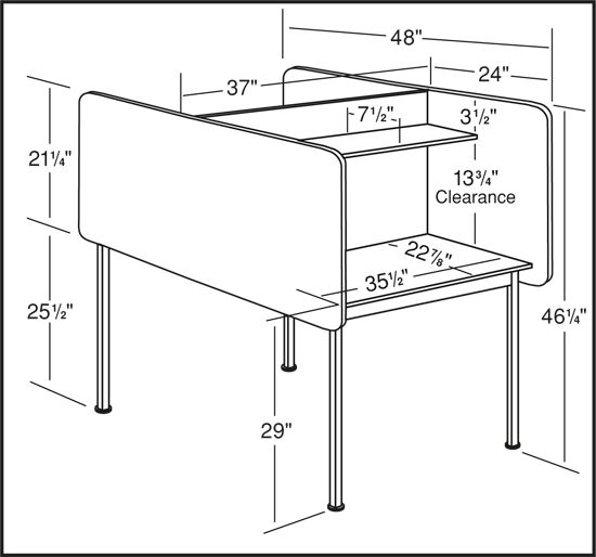 Dimensions for fixed carrels study hall interior for Table th fixed width
