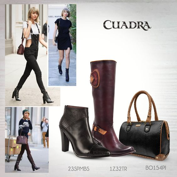 Sigue los pasos de Taylor Swift y luce como ella. ¡Aquí te decimos cómo! #Blog #CUADRA #Consejos #Tips #Outift #Moda #Boots #Botas #Botines #Bolsa