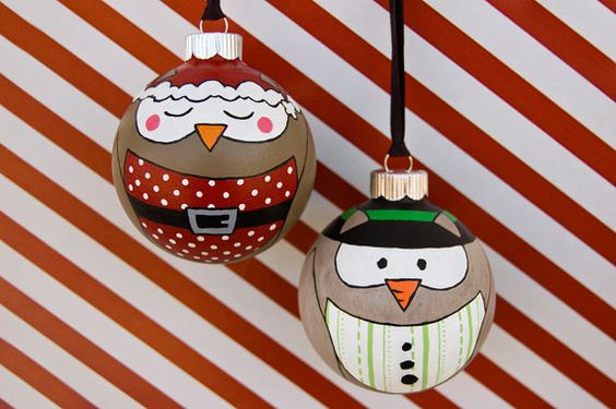hand painted owl ornaments from my Hoot-N-Holiday collection! Each set for $24.50 Limited Edition!