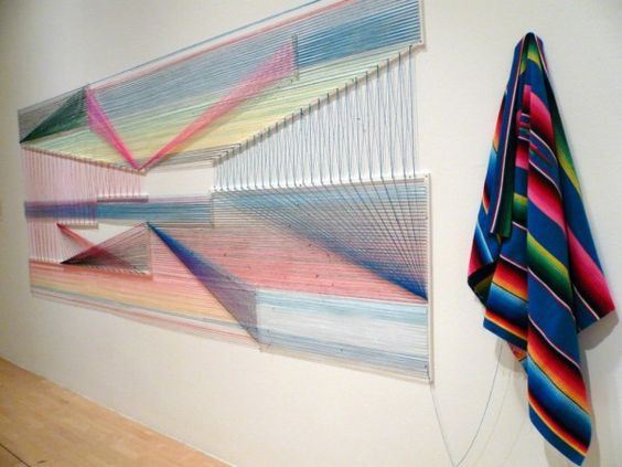 Darwinian Design: String Art (http://blog.hgtv.com/design/2014/05/13/darwinian-design-string-art/?soc=pinterest): Art Hidden, Art String, Serape Blankets, Adrian Esparza Art, Mexican Blankets, Art Archives, Art Installations, Art Adrian, Art Walls