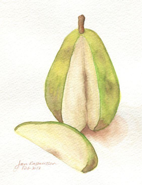 Watercolor of a pear, Feb 23, 2013