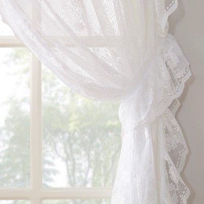 Alison Ruffled Floral Lace Sheer Priscilla 5pc Curtain Set White