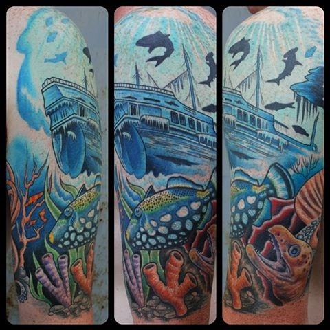 Underwater Shipwreck Tattoo Sunken ship | T...
