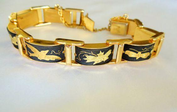 Vintage Bracelet Damacene Japanese by VJSEJewelsofhope on Etsy, $20.00