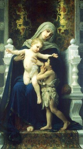 William Adolphe Bouguereau >> La Virgen y San Juan Lenfant Jesús Baptiste2  |  (oleo, obra de arte, reproducción, copia, pintura).