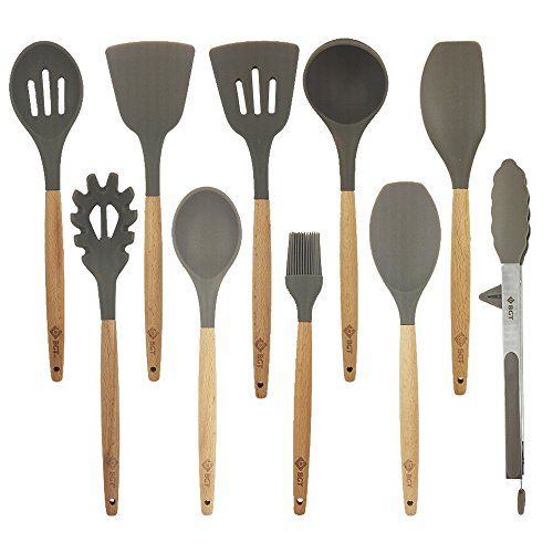 10 Pcs Set Silicone Kitchen Utensils Set With Beech Wood Handle