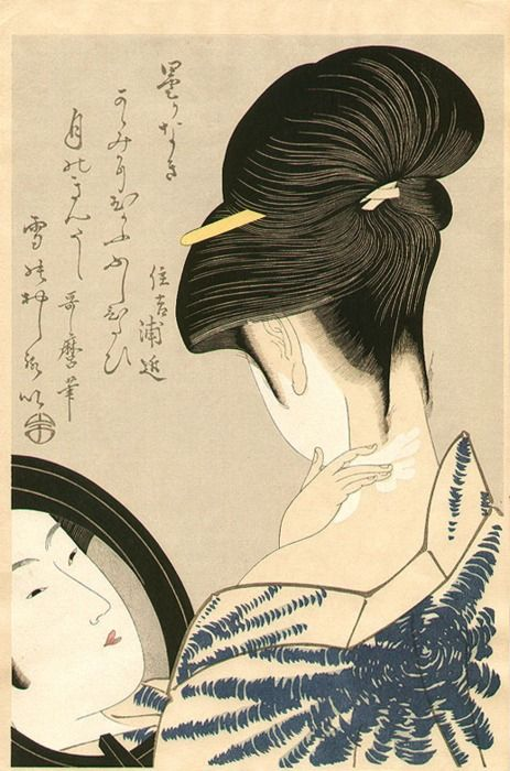 Beauty in front of mirror by Utamaro Kitagawa, 1750-1806: