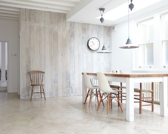 Great Terrific And Modern Wood Panelling For Walls With Wooden Dining Table With  White Chairs Hanging Lighting Ceiling Panels Wall Clock Extraordinary Inu2026  ...
