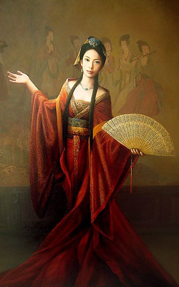 """Tang Dynasty"" oil on canvas portrait - by Dongmin Lai."