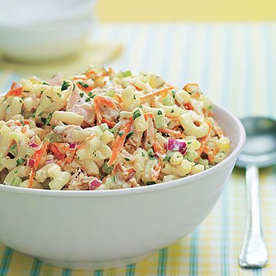 Picnic-Perfect Tuna-and-Macaroni Salad....you can use any short pasta shape in this recipe. Add chopped artichoke hearts, sun-dried tomatoes or roasted red peppers to achieve veggie variety and a hearty party dish.