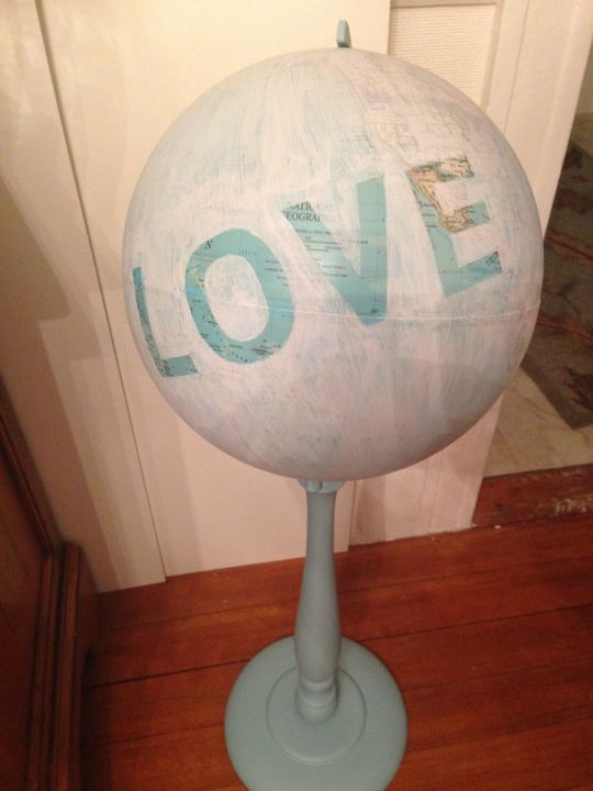 Global LOVE international travel wedding decor using World Globes, stencils and…