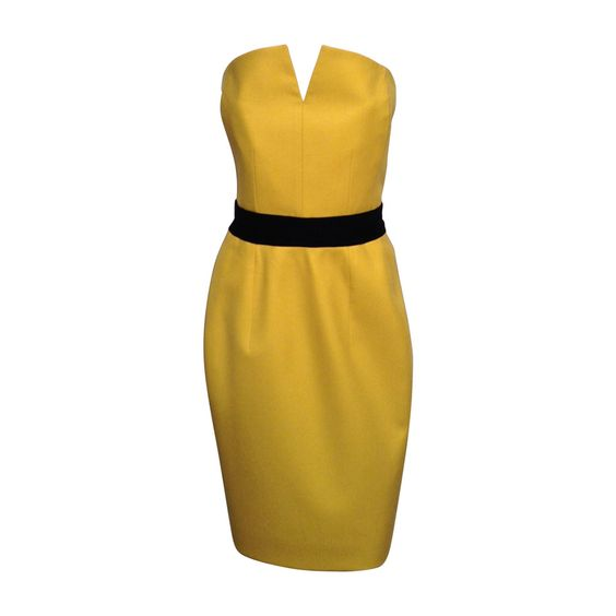 Yves Saint Laurent Yellow Wool Buster Dress Size IT40/8 AW08 | From a collection of rare vintage evening dresses at https://www.1stdibs.com/fashion/clothing/evening-dresses/