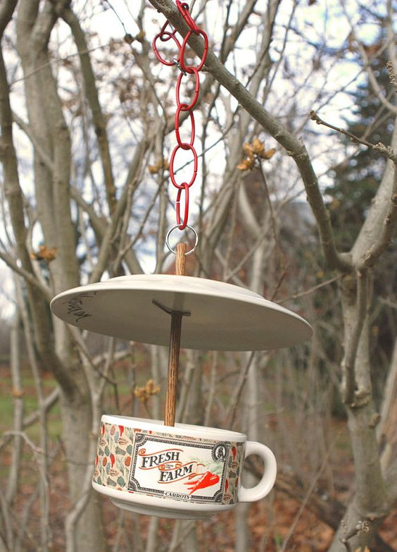 bird feeder from recycled dishes by tmarstiller on Etsy, $15.00