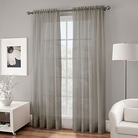 Crushed Voile Sheer 120-Inch Rod Pocket Window Curtain Panel in ...