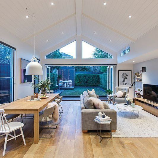 Open Pitched Roof Windows Skylights Look Awesome Not Sure If We Can Open Up The Den But It Could Be Cool Open Plan Kitchen Living Room Home Living Room Home