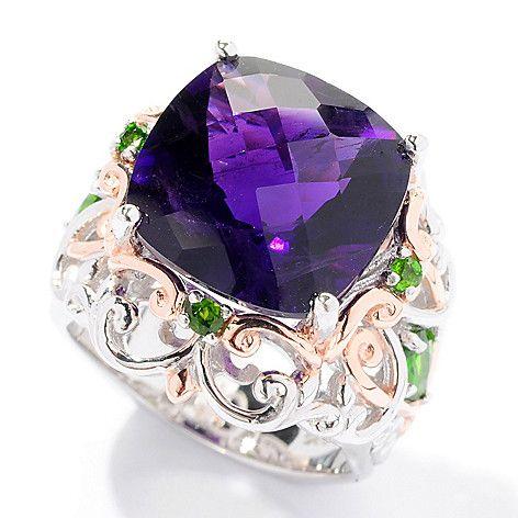 153-629 - Gems en Vogue 9.32ctw Checkerboard Cut Amethyst & Chrome Diopside Ring