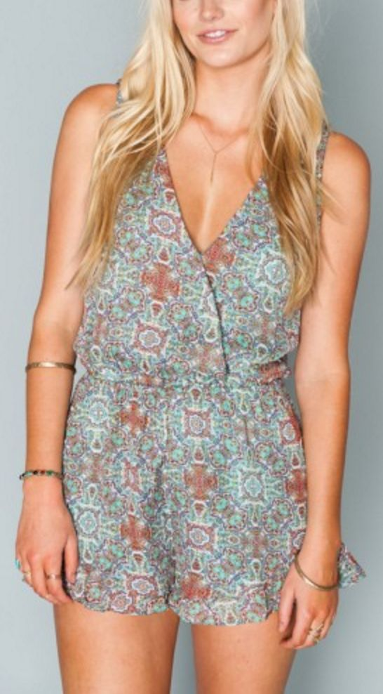Turquoise and Rust Bohemian Print Romper