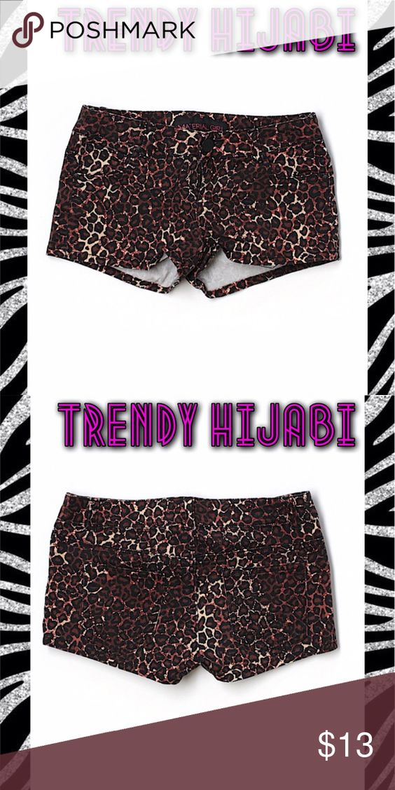 "Material Girl Leopard Denim Shorts Size 0 Low rise waist Brown Animal print Measurements 1"" Inseam Materials 98% Cotton, 2% Spandex Material Girl Shorts Jean Shorts"