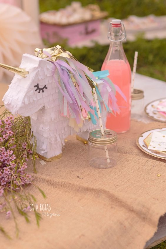 Unicorn piñata from a Dreamy Unicorn Birthday Party on Kara's Party Ideas | KarasPartyIdeas.com (32):
