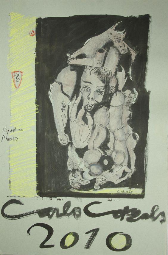 Myzelienphallus 2010 Mischtechnik auf grauem Papier 44,5 x 69,5 Anfragen an: Werkeverwaltung Carlo Cazals, c/o Britta Kremke, management@carlocazals.com