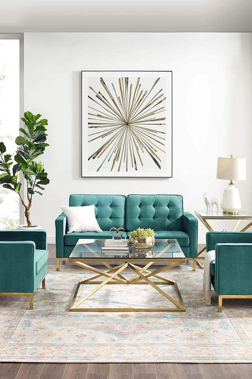 11 Ways To Use Benjamin Moore S 2021 Color Of The Year Aegean Teal In 2021 Gold Living Room Interior Design Living Room Dining Room Trends Living room decorating trends 2021