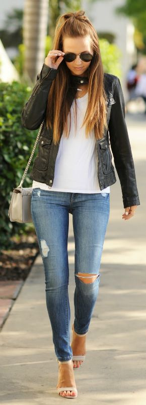 Distressed skinny jeans with a plain white tee and leather jacket is the best look for being out and about this summer. Via merricksart Denim: DL1961, Tee: Topshop, Bag: Rebecca Minkoff: