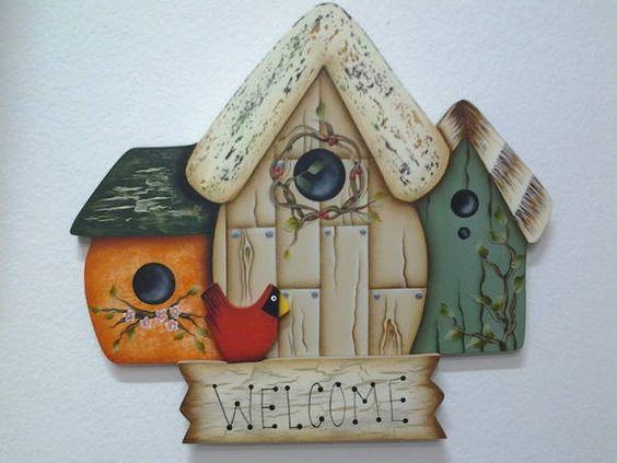 Plaquinha Welcome, para decorar a entrada da sua casa, jardim, varanda, porta, em pintura country.  *Podemos mudar as cores e escrita se preferir. R$ 75,00