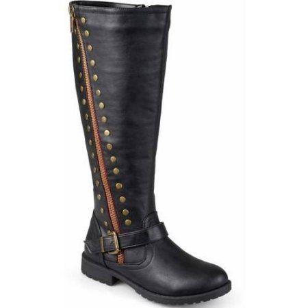 brinley co s wide calf zipper studded boots size