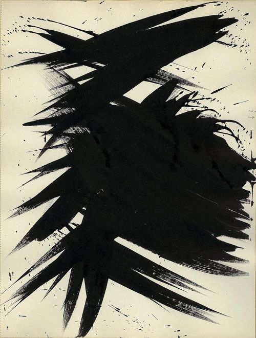 Hans Hartung. Untitled,1956. Ink on paper, 34.5 x 26.5cm, © the artist; Courtesy, Foundation Hartung Bergman, France