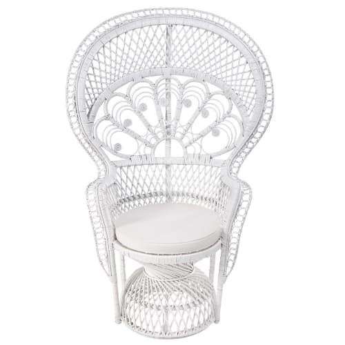 fauteuil en rotin blanc philippine