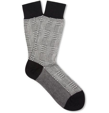 Beams Plus Prince Of Wales Check Cotton-Blend Socks | MR PORTER