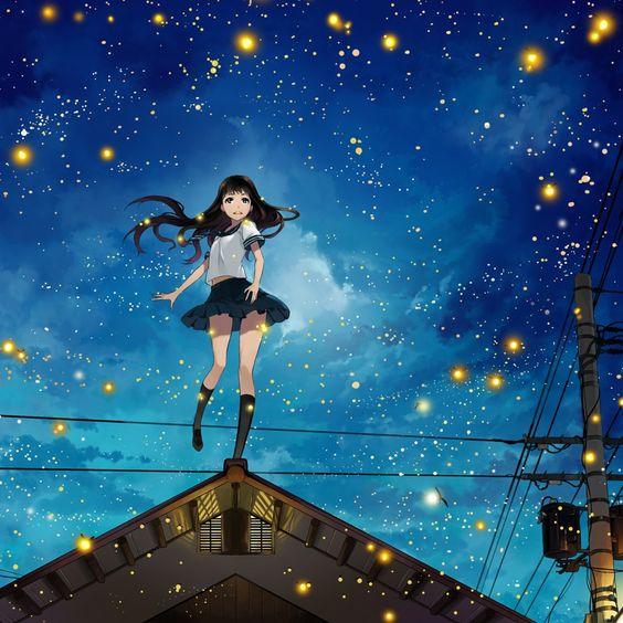 Anime Long Hair Girl In City Night iPad Wallpaper iPad
