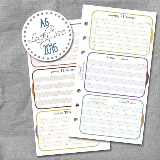 Wochenkalender, Kalendereinlagen von SinnWunder für Organizer von Filofax, Succes, elfenklang & Co.im Design LuckySinn. Filofaxing Fans werden sich über die tolle Papierqualität von 100g/m² freuen. Monats- und Jahresübersichten sind auch mit dabei.Der Kalender 2016 enthält die Feiertage für Deutschland, Österreich und die Schweiz.  So macht Planung richtig Spaß!  Auf www.sinnwunder.de gibt es noch viele Zusatzeinlagen, um das Kalender Set-up zu vervollständigen.  ;)