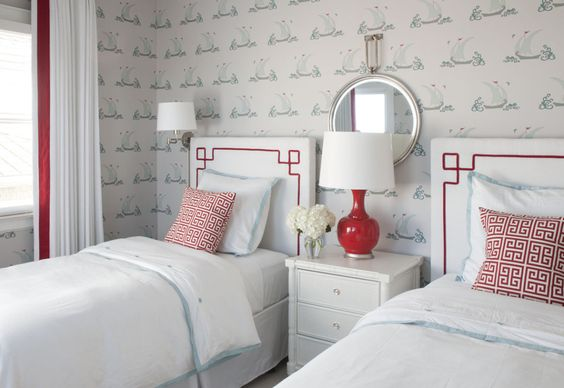 Red and Aqua Twin Bedroom - we love the color combo here and the beautiful sailboat wallpaper! #sharedroom