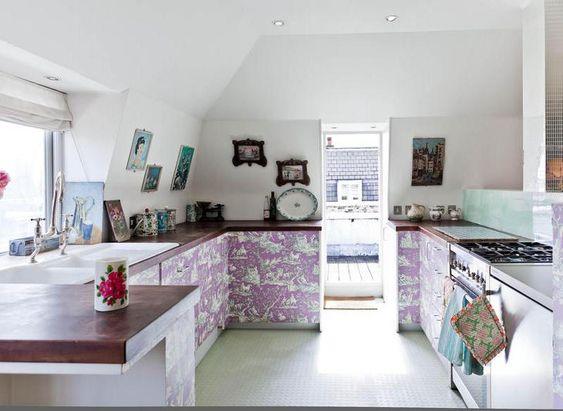 Lavender Toile cabinets in a kitchen! via Desire to Inspire
