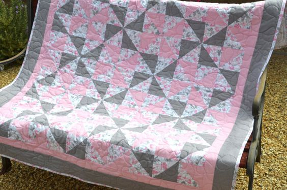 Pink and Grey Quilt Baby Girl Quilt Toddler by EnchantmentTextiles