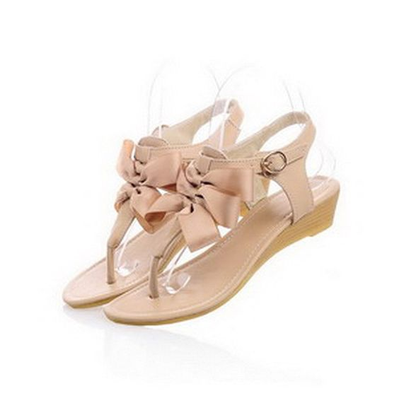 WeiPoot Women's Thong Toe Low Heel Wedge PU Soft Material Solid Sandals with Bows ** You can get more details by clicking on the image.