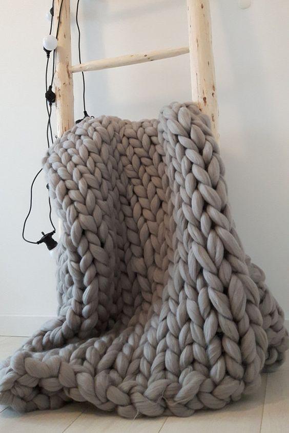Couverture tricoté. En laine mérinos Super. par BaczewskaDesign: