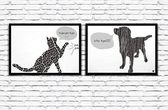 "Grafika - Dyptyk ""PukPuk"" 2 x A4 od liliput. Koci & Psi Design"