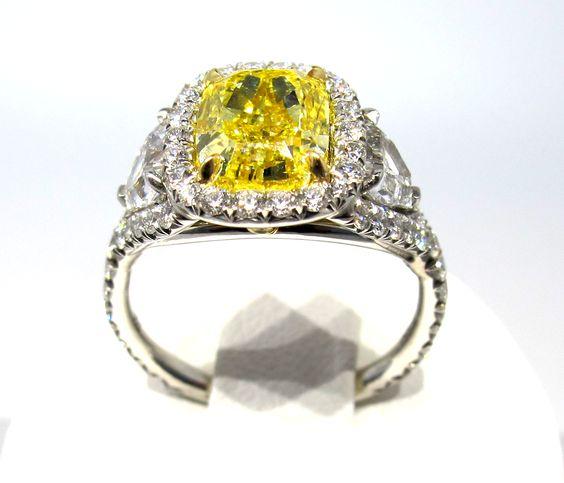 10th Wedding Anniversary Ring Ideas : Vintage Yellow Diamond Ring - 10th anniversary wish :)