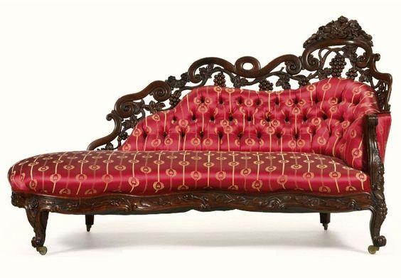 John Henry Belter Rococo revival laminated rosewood meridienne.