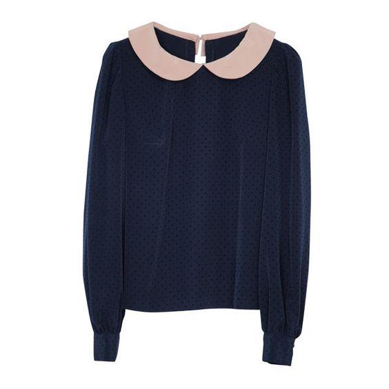 丸襟ブラウスプルオーバー |miraville ミラヴィール found on Polyvore featuring tops, sweaters, shirts and blouses