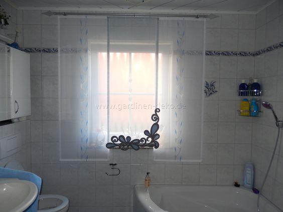 Badezimmer badezimmer weiß blau : Heller Badezimmer Schiebe-Vorhang in weiß-blau - http://www ...