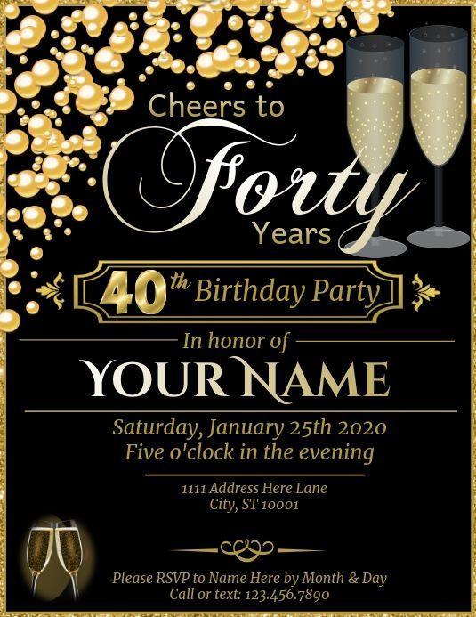 Pin On Free 40th Birthday Invitations Templates