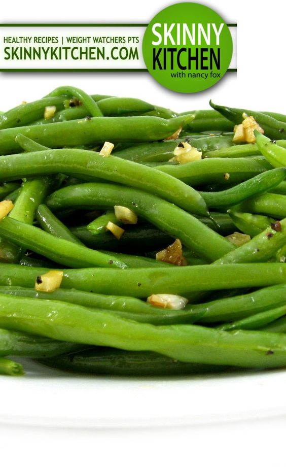 Simply Garlic Green Beans.There's so much flavor in this yummy dish! Each serving has 48 calories, 2g fat & only 1 Weight Watchers POINTS PLUS. http://www.skinnykitchen.com/recipes/skinny-garlic-green-beans/
